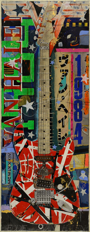 Original Painting of Eddie Van Halen Stratocaster Guitar by Michael Babyak