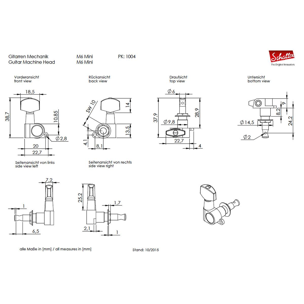 New Schaller M6 Mini Tuning Keys 6 In Line Set Tuners Machine Heads 14 1