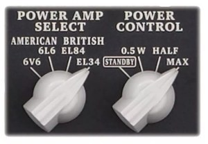 """These knobs toggle the power output and the """"Tube Logic"""" tones"""