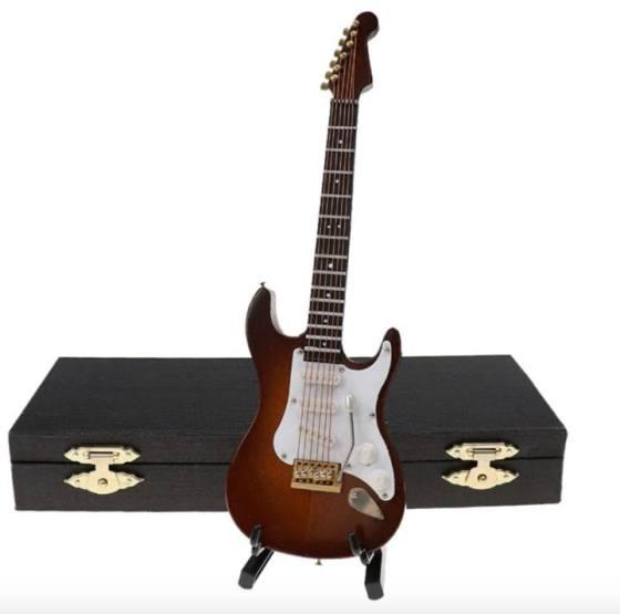 Miniatura guitarra eléctrica marrón