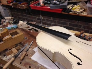 Neck joint dry assembled during fitting