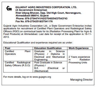 Gujarat Agro Industries Corporation Limited Recruitment Jobs