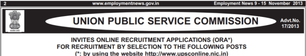 UPSC Various Recruitment 2013 Vacancy Jobs