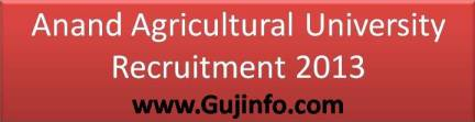 Anand Agricultural University Recruitment 2013