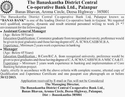 The Banaskantha District Central Co-operative Bank Recruitment 2013