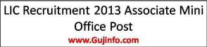 LIC Recruitment 2013 Associate Mini Office Post