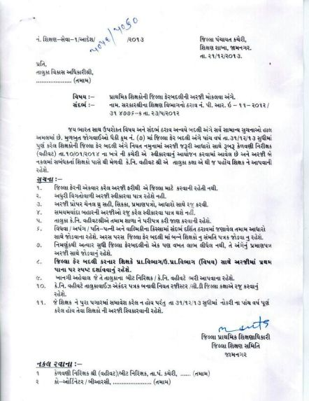 Primary Teacher Jilla Fer Arji Moklva Babat Jamnagar District