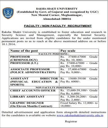 Raksha Shakti University Recruitment 2013