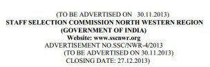 Staff Selection Commission North Western Region Recruitment 2013