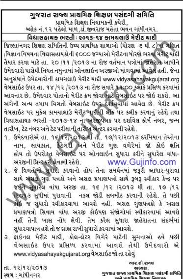 Vidhyasahayak Merit List Bharti 2013-14