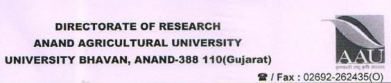 Anand Agricultural University AAU Junior Research Fellow walk in Interview
