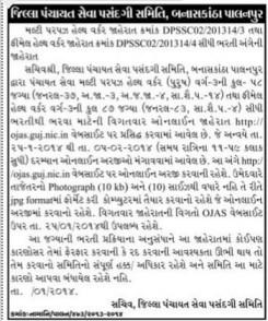 Banaskantha Jilla Panchayat Health Worker Recruitment 2014