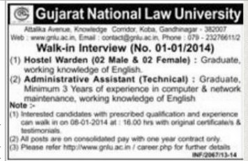 Gujarat National Law University Hostel Warden & Administrative Assistant Walk in Interview