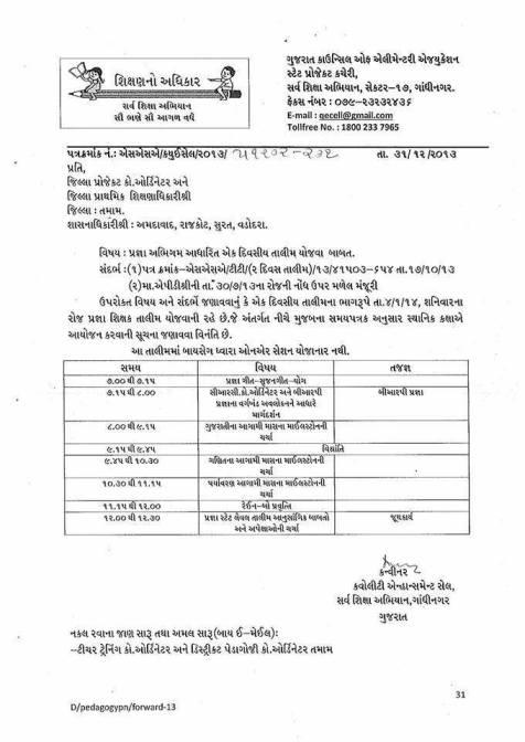 Pragna Abhigam Ek Divasiy Talim Date 04-01-2014 Schedule