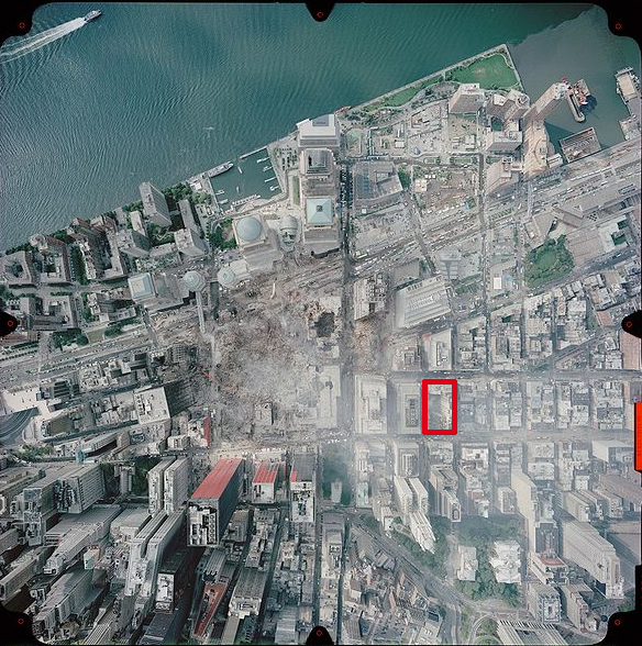 World Trade Center crater, center; one proposed Muslim center, red box