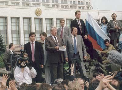 Yeltsin after the failed hardline coup, 1991