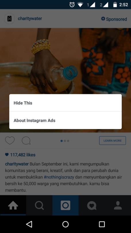 Menyembunyikan iklan pada Instagram