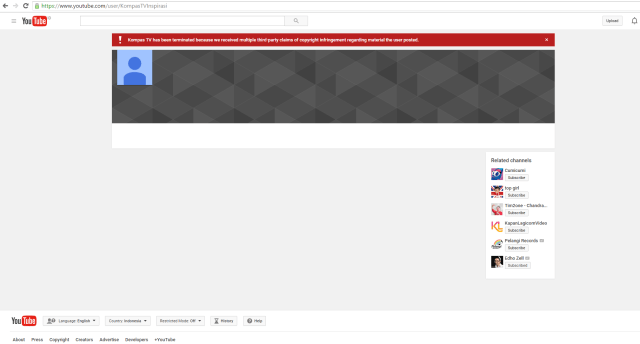 YouTube Kompas TV has been terminated