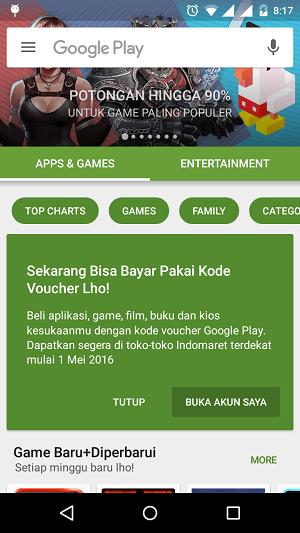 Play Store Bisa Menggunakan Voucher