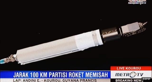 Gambar Ilustrasi pemisahan partisi roket peluncuran satelit