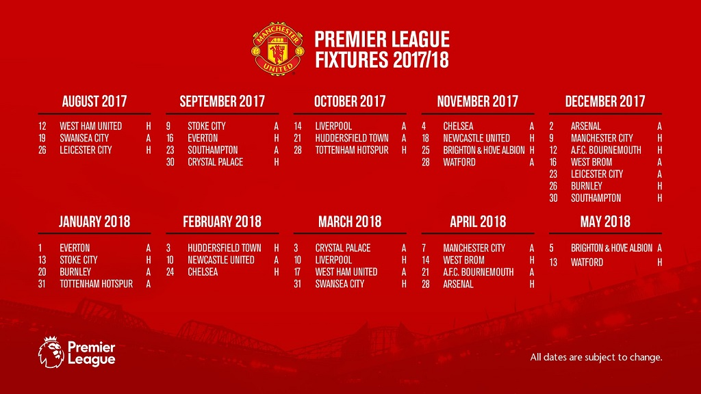 Jadwal Pertandingan Liga Inggris Mu Musim