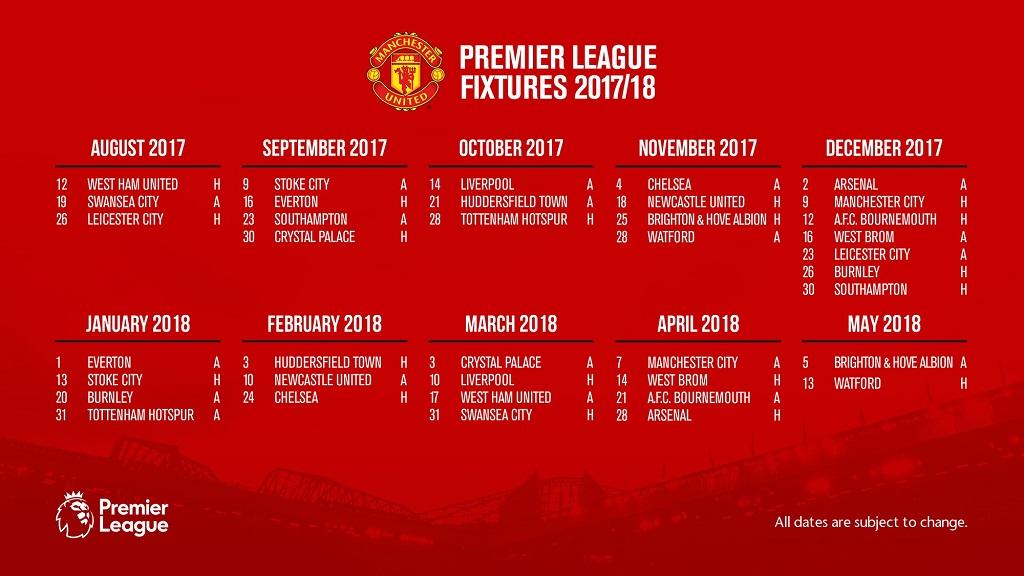 Jadwal pertandingan liga inggris manchester united musim 20172018 jadwal pertandingan liga inggris mu musim 2017 2018 stopboris Image collections