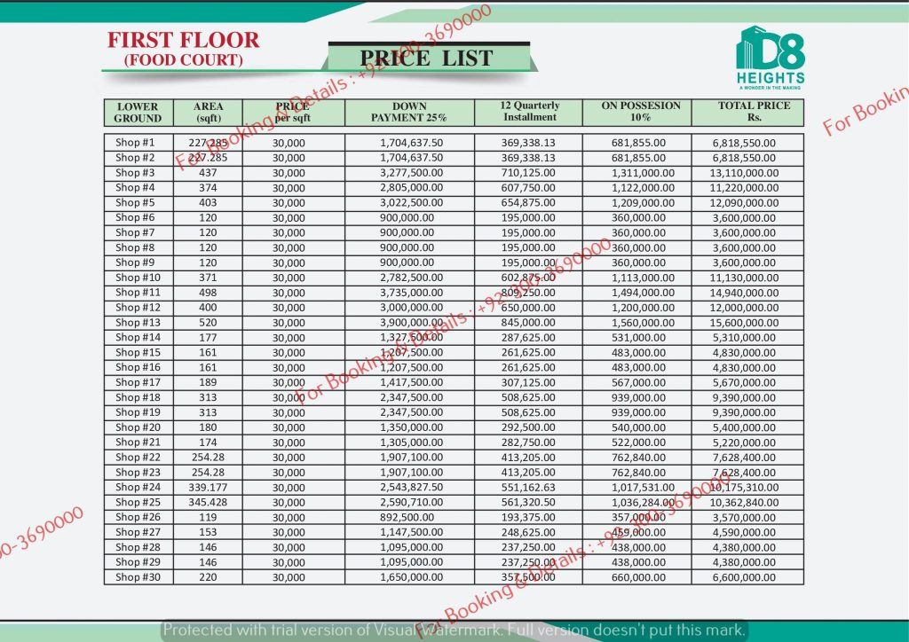 D 8 Heights Gulberg Second Floor Payment PLan