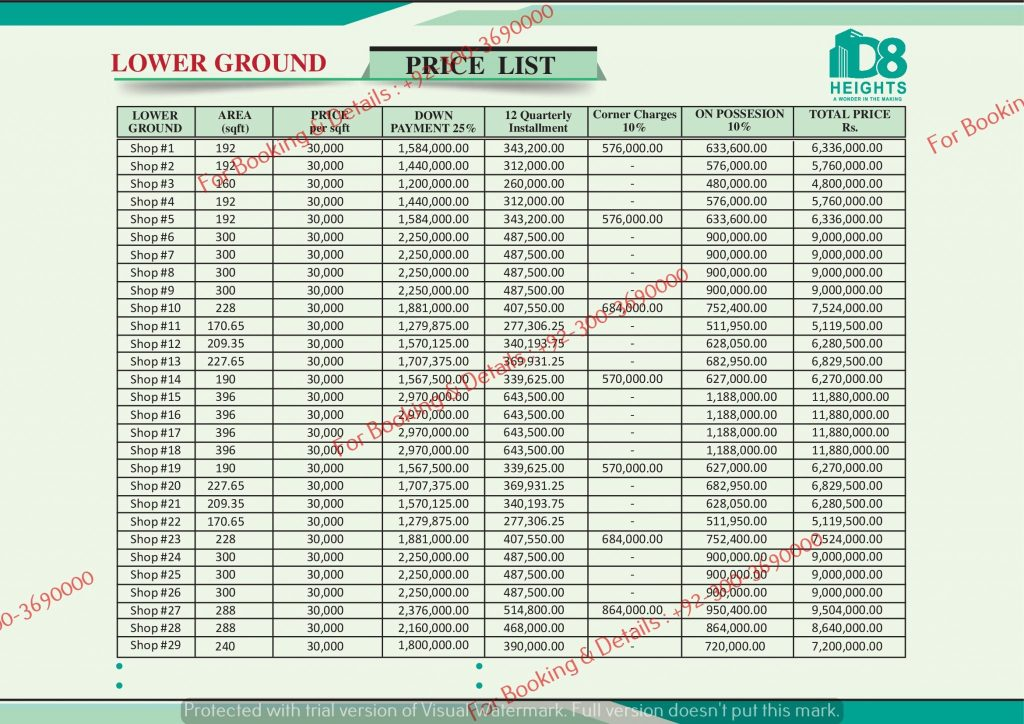 D 8 heights gulberg lower ground floor payment plan