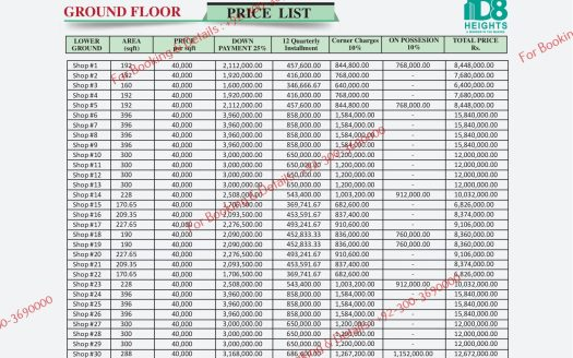 D 8 Heights Gulberg Ground Floor Payment Plan