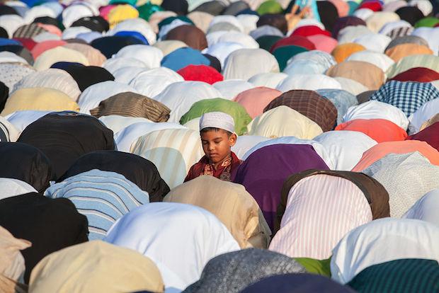 Members of the Muslim community perform Eid al-Adha prayer in Palermo, Rome, Italy.