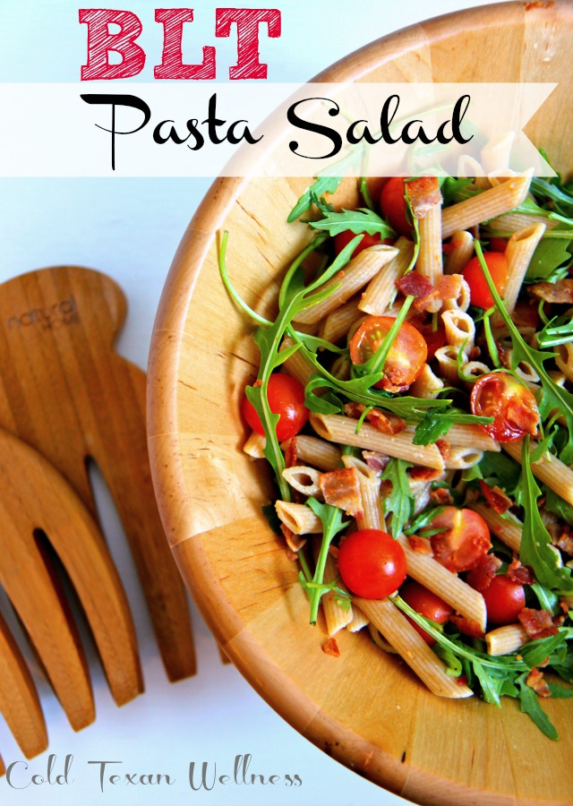 BLT Pasta Salad is a fabulous anytime salad. This clean eating recipe is gluten free adaptable, and makes a very satisfying and fast meal