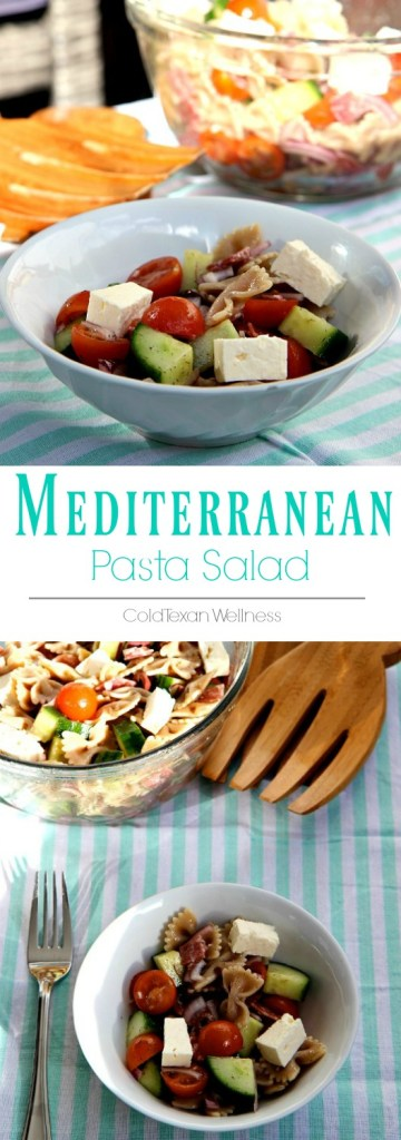 Mediterranean Pasta salad makes the perfect balanced healthy lunch or dinner. Make this recipe ahead for a healthy family meal that is all ready to go!