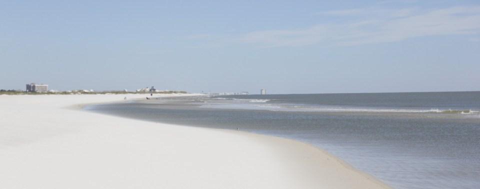 Fort Morgan Beach in Alabama is part of the gulf coastline.