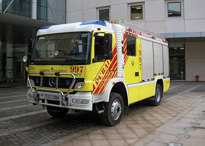 A Dubai Civil Defence Mercedes/Rosenbauer Firefighting and Rescue Pump.