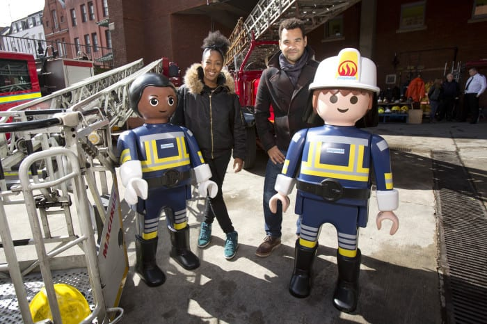 Playmobil partners with London Fire Brigade (LFB) to celebrate their 150th anniversary at Soho Fire Station yesterday (9th April, 2016) V presenters Angellica Bell and husband Michael Underwood hang out with life-sized Playmobil figures and LFB firefighters at the launch of the BrigadeÕs 150th anniversary open days PIX:TIM ANDERSON