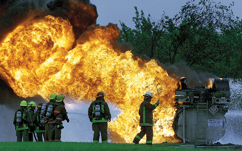 Fire services are prepared to tackle major chemical incidents, even though they are statistically much more likely to be called out for spills less than 1 litre in volume.