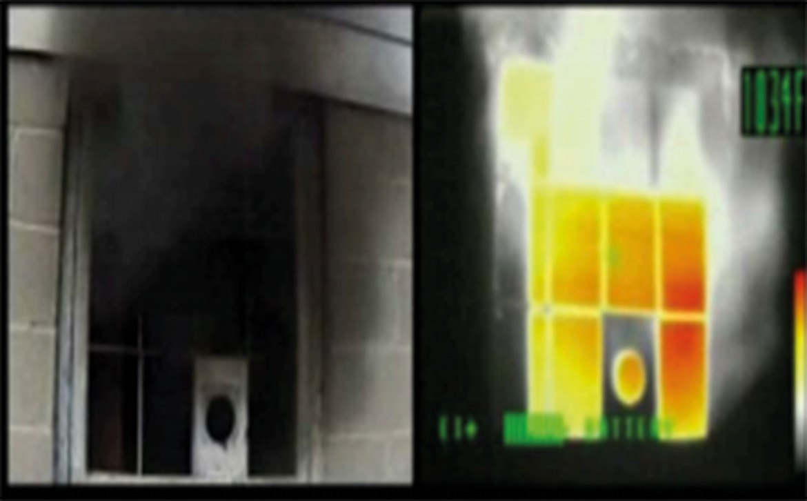Thermal images of a basement fire with heat signatures around the bottom of the structure and through single pane glass in the basement wall.