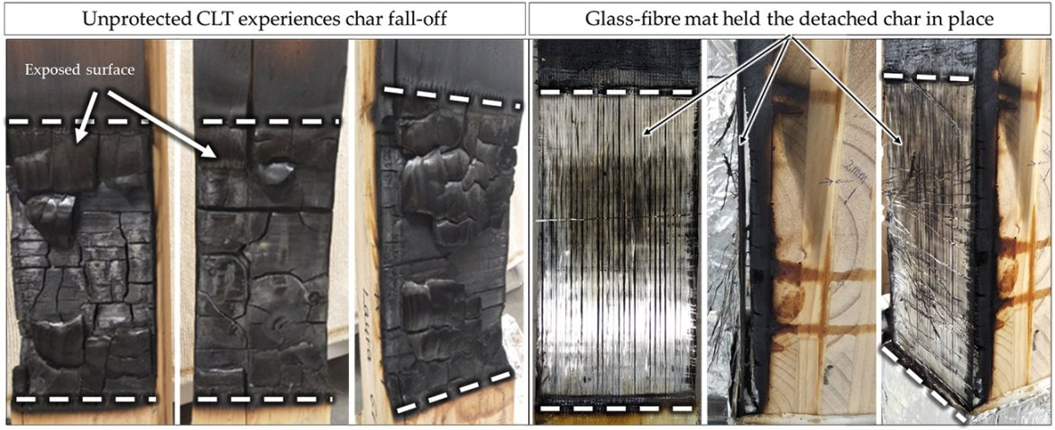 All unprotected CLT samples showed char fall-off which left the underlying timber exposed to heating and the second lamella started to char (left). Samples with GFRP experienced no char fall-off and, due to the insulating volume of the char layer being held in place, less heat was transferred in depth (right). These pictures were taken after exposure to 20kW/m².