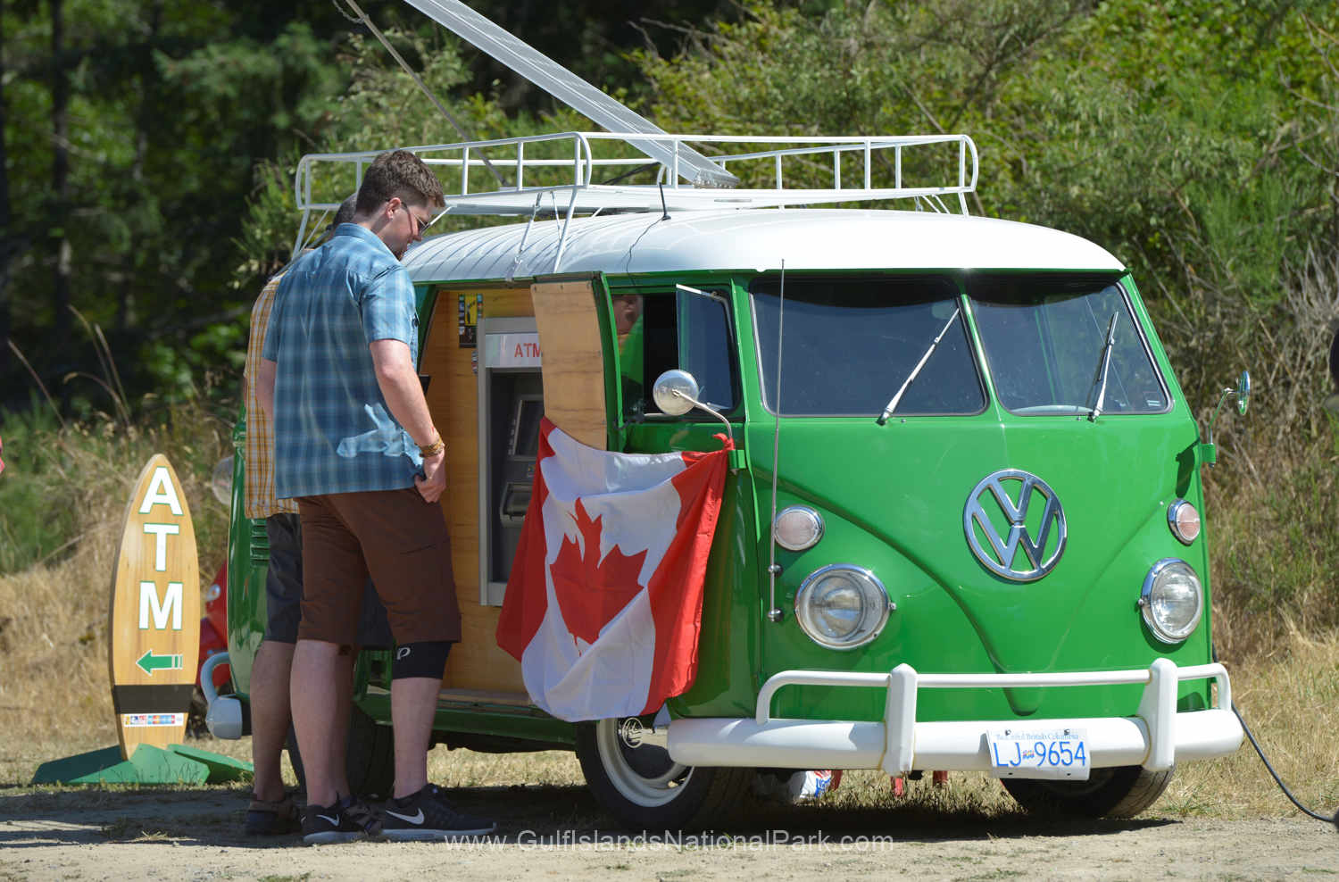 Very cool VW van ATM on Saturna Island