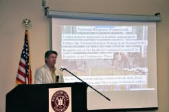 Jeff Dauzat of the Louisiana Department of Environmental Quality explains how his agency works within the federal framework when responding to spills in the state's waters. (Melissa Schneider)