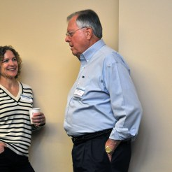 Marla Steinhoff of NOAA and Ed Overton of Louisiana State University enjoy the opportunity to speak informally about their work. (Melissa Schneider)