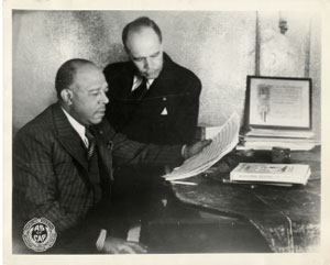 James Weldon Johnson (back) and his brother John Rosamond, updated, photographed by ASCAP. James Weldon Johnson papers, Manuscript Archives, and Rare Book Library, Robert W. Woodruff, Emory University. 0797-004.tif