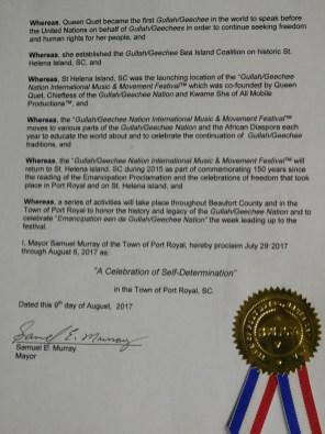 Port Royal Gullah/Geechee Nation Appreciation Week Proclamation Pg 2