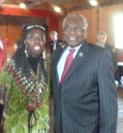 """Queen Quet Chieftess of the Gullah/Geechee Nation and US Congressman James Clyburn at Darrah Hall of Penn Center which will now be a part of the """"Reconstruction National Monument."""""""