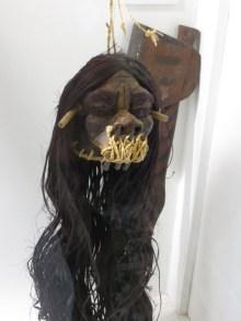 Skrumphuvud från jivaros i Etnografiska museet.