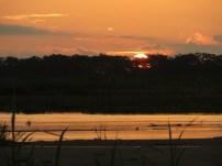 Solnedgång vid Río Amazonas.