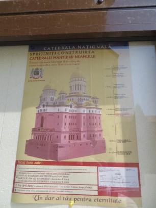 Uppmaning att skänka pengar till färdigställandet av den rumänsk-ortodoxa nationalkatedralen i Bukarest, avsedd att bli en av världens största kyrkor.