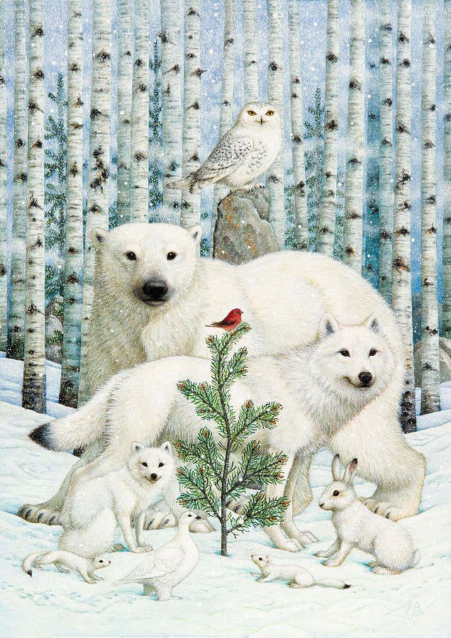 White animals red bird por Lynn Bywaters