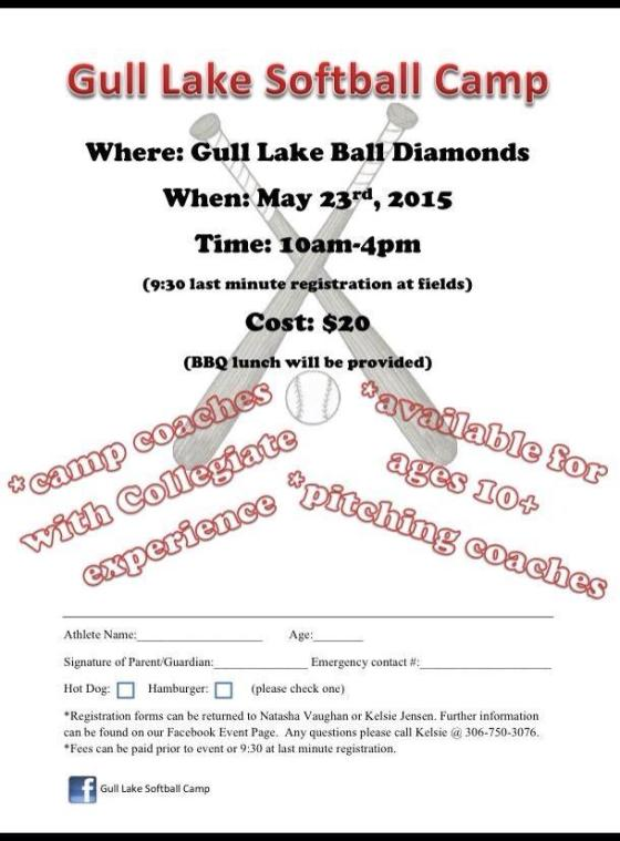 Gull Lake Softball Camp Regestration GULL LAKE  Community