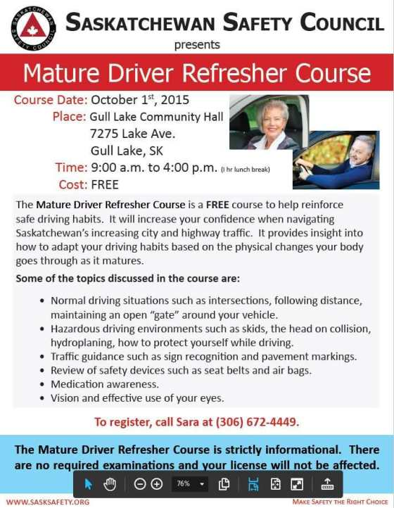 Saskatchewan Safety Council Mature Driver Refresher Course Education GULL LAKE  Community